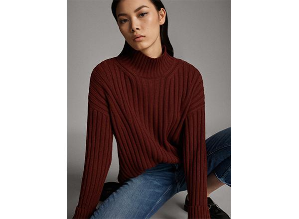 pulover caramiziu inchis Massimo Dutti
