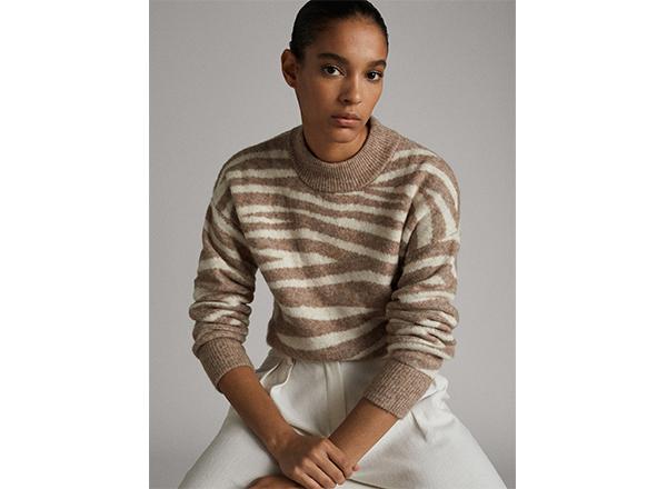 pulover cu guler inalt si model zebra Massimo Dutti