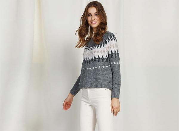 pulover gri cu motiv Craciun BSB