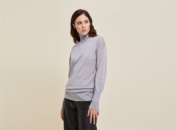 pulover gri lejer Stefanel