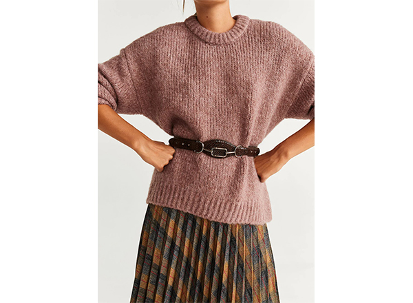 pulover gros roz vintage Mango
