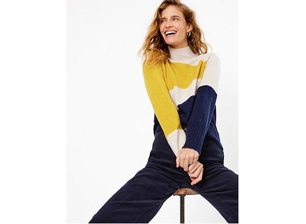 pulover in blocuri de culoare bleumarin-alb-galben Marks&Spencer