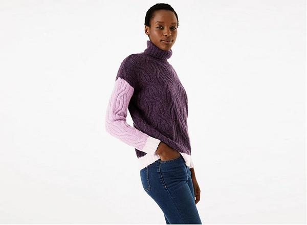 pulover in blocuri de culoare violet Marks&Spencer