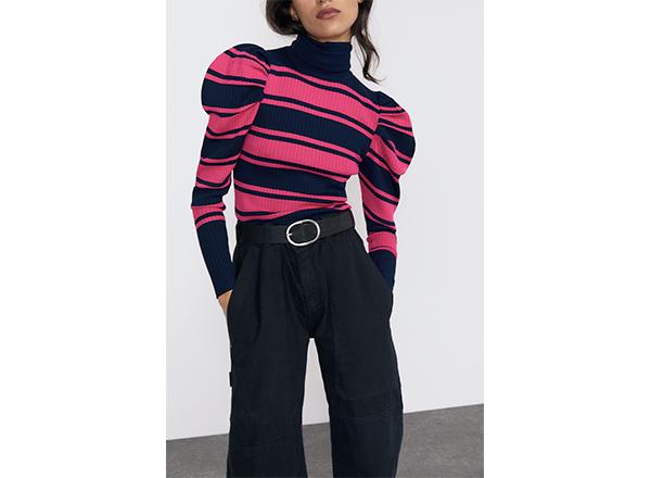 pulover in dungi negru-roz Zara