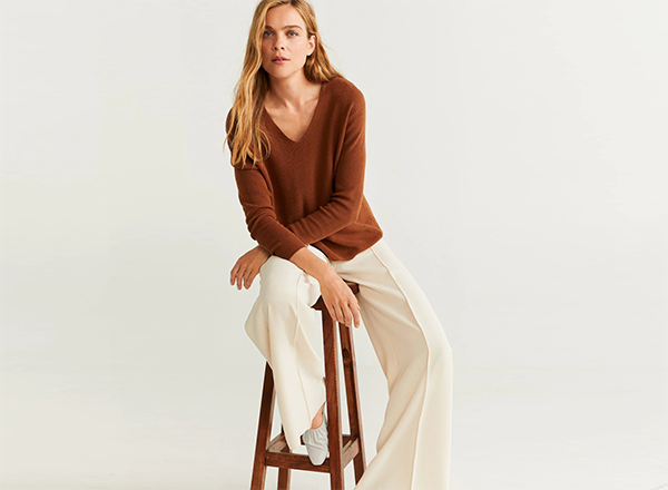 pulover maro tabac din lana Mango
