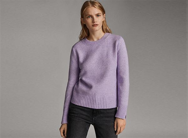 pulover mov lavanda Massimo Dutti