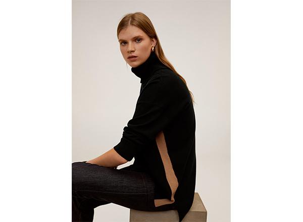 pulover negru cu banda laterala cafenie Mango