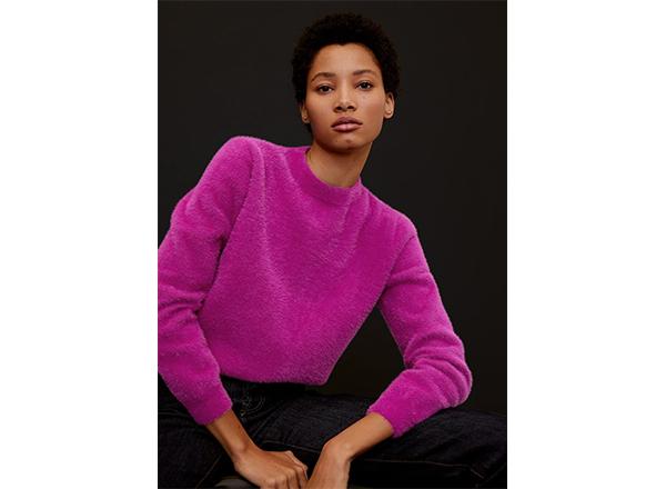 pulover pufos roz fucsia Mango