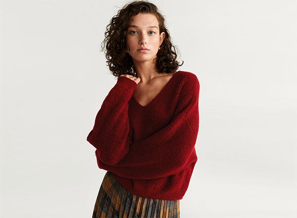 pulover rosu inchis Mango
