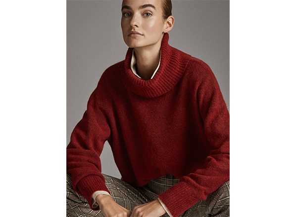 pulover rosu oversize Massimo Dutti