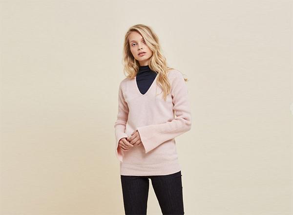 pulover roz pastel Stefanel