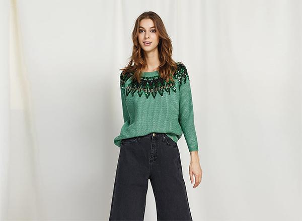 pulover verde cu paiete BSB