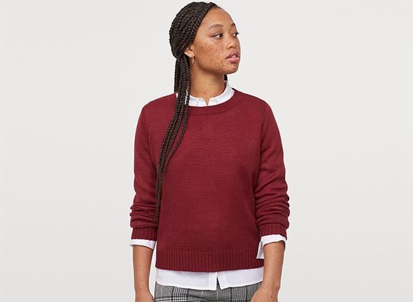 pulover visiniu simplu H&M