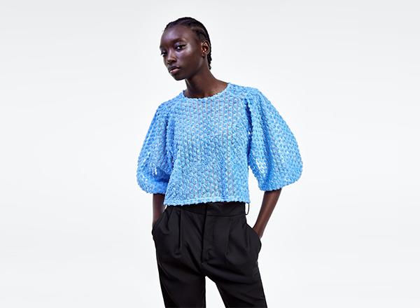 bluza din tulle cu flori aplicate Zara