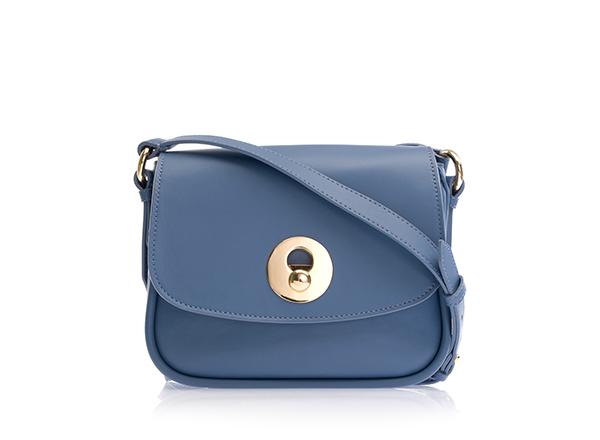 geanta bleu din piele cu banduliera Musette
