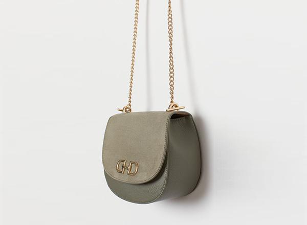 geanta kaki cu banduliera din lant auriu H&M