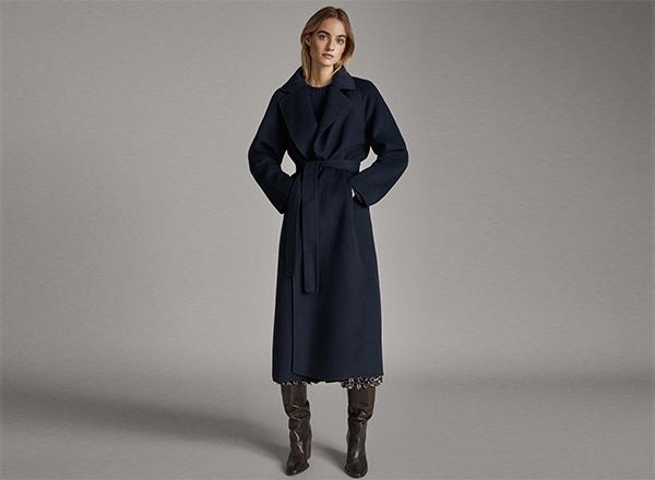 palton albastru din lana Massimo Dutti