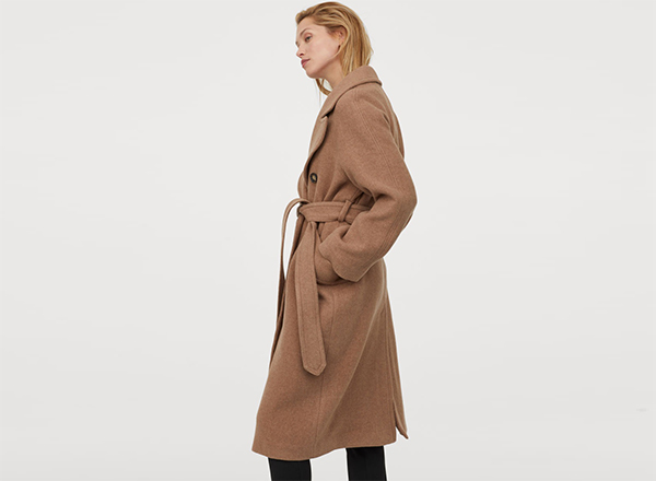 palton bej cu cordon din lana reciclata HM
