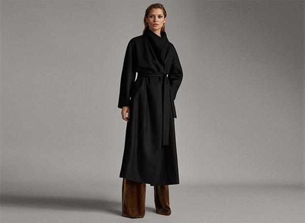 palton negru Massimo Dutti