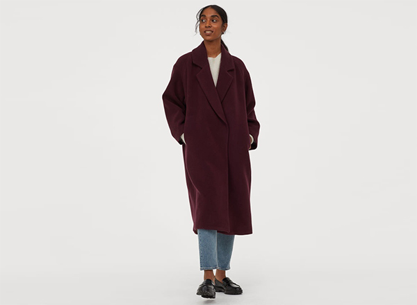 palton visiniu din stofa amestec de lana HM