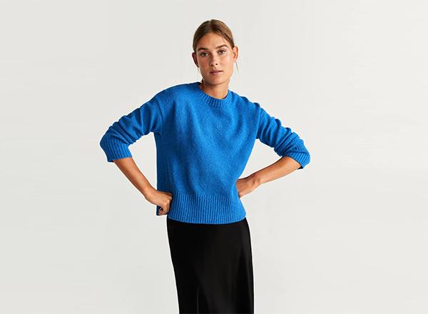 pulover albastru Mango