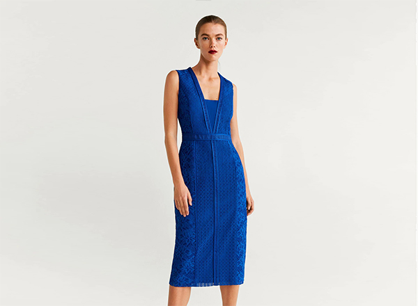 rochie albastra din dantela Mango