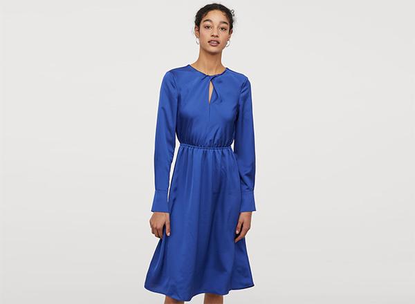 rochie albastra satinata H&M