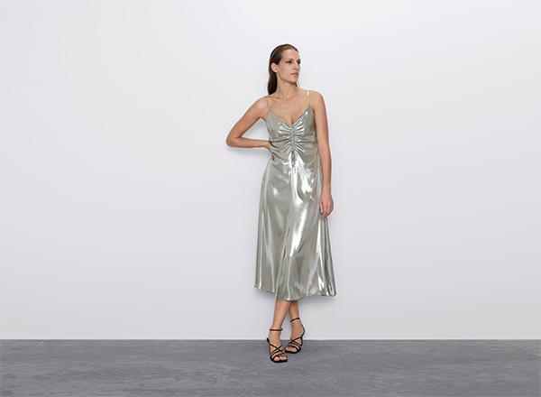 rochie argintie cu bretele Zara