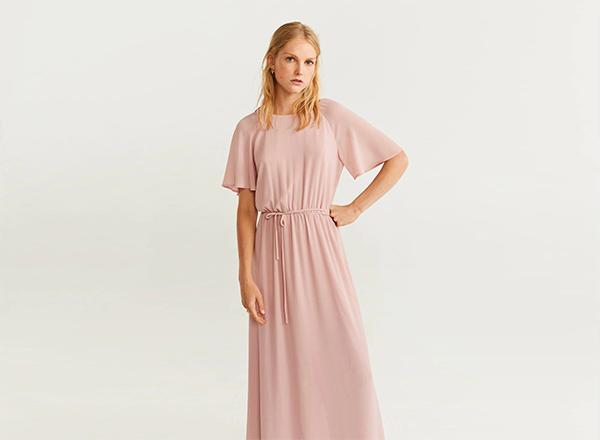 rochie maxi roz pastel din voal Mango