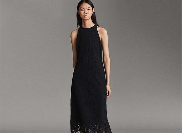 rochie neagra din dantela MAssimo Dutti