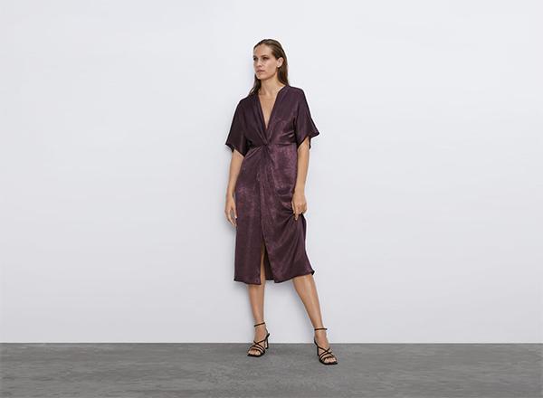 rochie violet satinata Zara