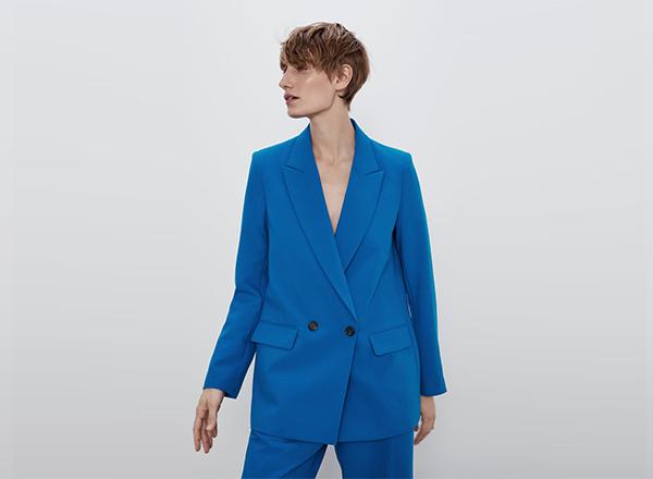 sacou albastru la 2 randuri Zara