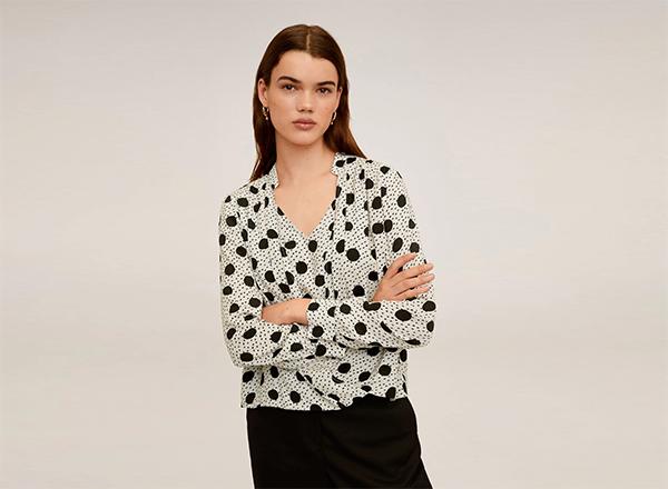 bluza cu buline negre Mango