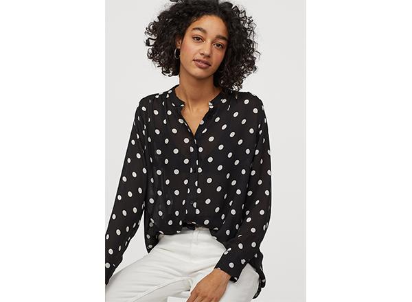 bluza neagra cu buline mari albe H&M
