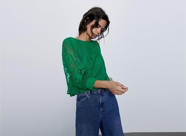 bluza verde smarald din dantela Zara