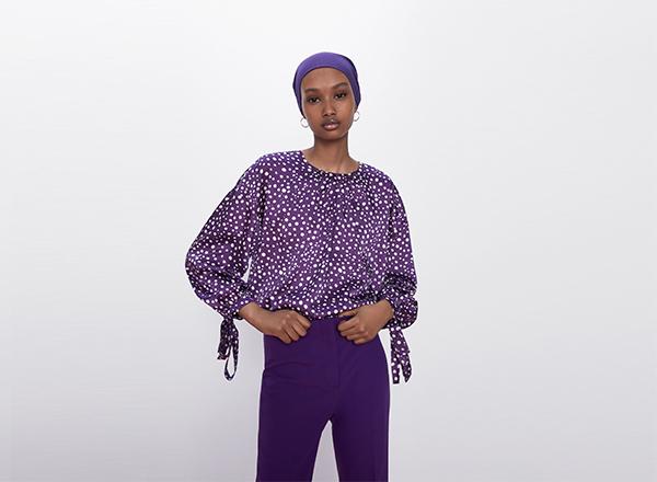 bluza violet cu buline albe Zara