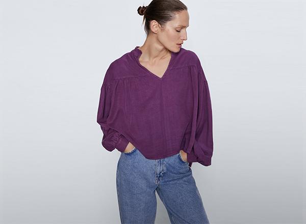 bluza violet larga cu falduri Zara