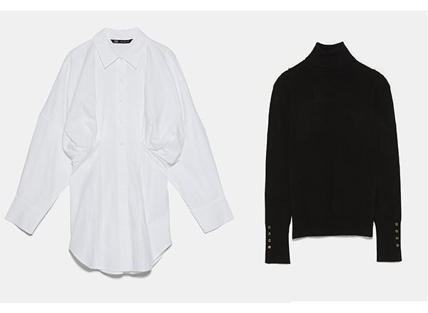 camasa alba oversize si helanca neagra Zara
