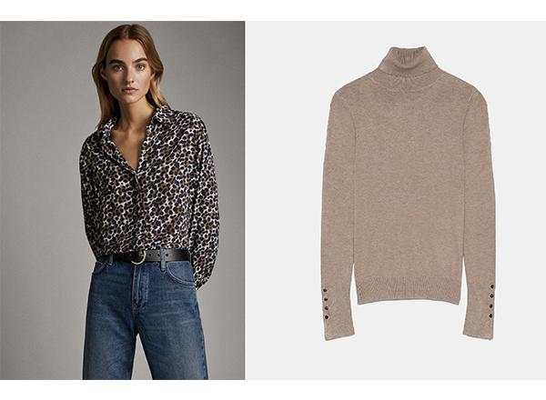 camasa print leopard Massimo Dutti helanca bej Zara