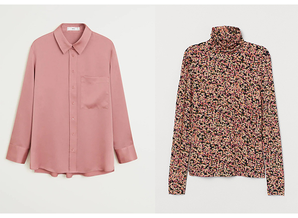 camasa roz trandafiriu Mango helanca print floral HM