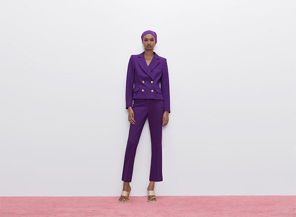 costum violet 2 piese Zara