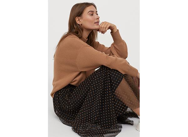 fusta din voal negru cu buline bej H&M
