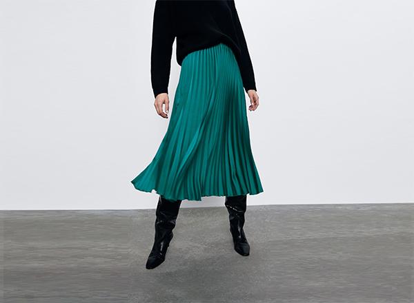 fusta plisata verde Zara