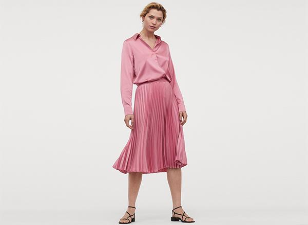 fusta roz plisata H&M