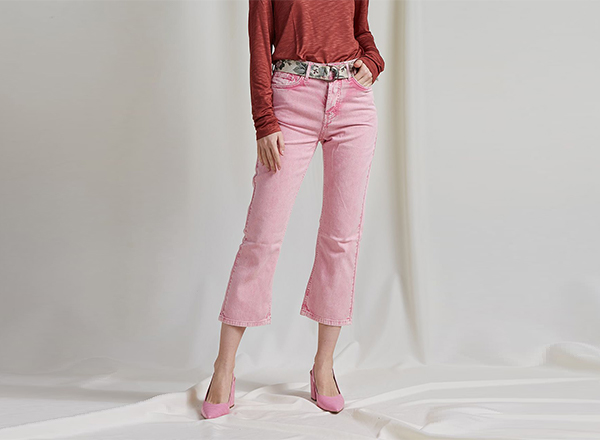 jeansi cropped roz pastel BSB