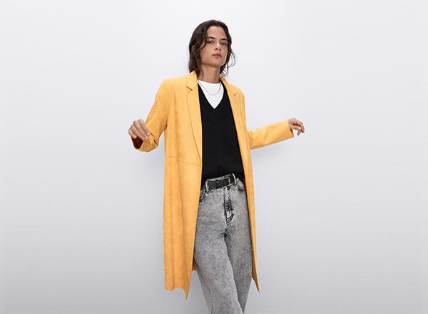 palton galben subtire cu efect piele intoarsa Zara