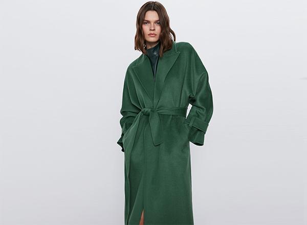 palton subtire verde Zara