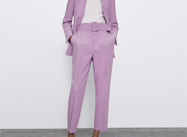 pantaloni cropped mov deschis cu cordon Zara