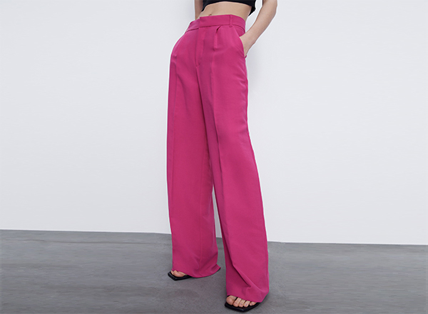 pantaloni largi roz fucsia Zara