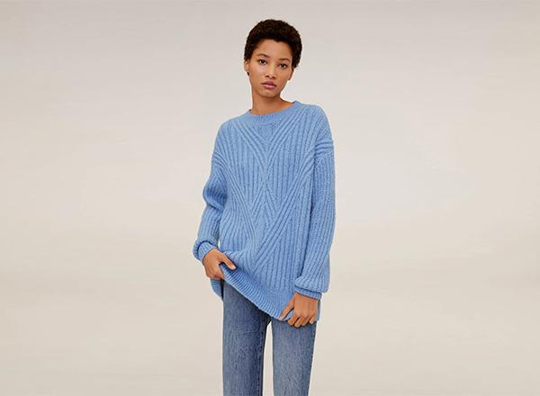 pulover lung albastru deschis Mango